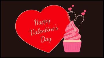 Happy Valentinstag Vorlage Design-Kuchen vektor