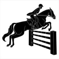 Reiten Frau Reiten Pferd springen über Hindernis Silhouette vektor