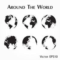 um die Welt Umriss der Weltkarte vektor