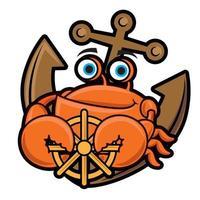 Karikatur niedliches Krabbenmaskottchen, das Lenkrad beim Sitzen auf Anker hält vektor
