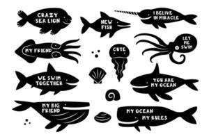 Meerestiere Tiere Fische Walhai Walross Narwal Quallen Tintenfisch Killerwal Delphin Tintenfisch schwarze Silhouetten mit Schriftzug Schnittbrett Vorlage Design vektor