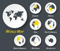 Welt- und Kontinentkarte auf Kreis vektor