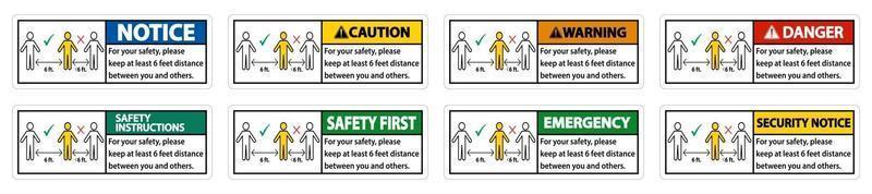 Halten Sie einen Abstand von 6 Fuß ein oder halten Sie zu Ihrer Sicherheit einen Abstand von mindestens 6 Fuß zwischen Ihnen und anderen Personen ein vektor
