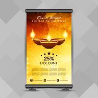 Abstraktes stilvolles glückliches Diwali rollen oben Fahnen-Designschablone