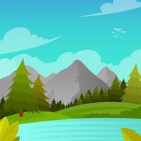 Flache Berglandschafts-erste Personen-Vektor-Hintergrund-Illustration