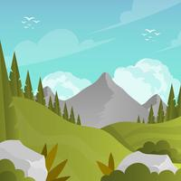 Flat Mountain Landscape Första Person Vector Bakgrunds Illustration