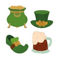 Happy St Patricks Day Kobold Kessel Schuhhut und Bier Ikone flachen Vektor