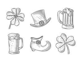 Set glücklich st Patricks Tag Klee Hut Bier Schuh Ikonen Skizze vektor