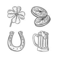 Set Happy St Patricks Tag Kleemünzen Bier und Hufeisen Ikonen Skizze vektor