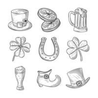 Set glücklich st Patricks Tag Hut Münzen Klee Schuh Bier und Hufeisen Symbol Skizze isoliert vektor