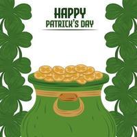 Happy Patricks Day Kessel mit Münzen und Klee Grenze Dekoration Karte vektor