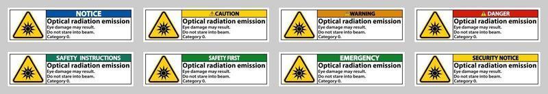 optisches Strahlungsemissionssymbolzeichen auf weißem Hintergrund isolieren vektor