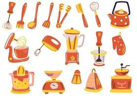 große Küchenutensilien Set Werkzeuge und Zubehör zum Kochen Backen Braten Schneebesen Besteck Salz Teekanne Spatel Entsafter Kaffeemühle Mixer Skala Vektor flache Illustration zum Kochen