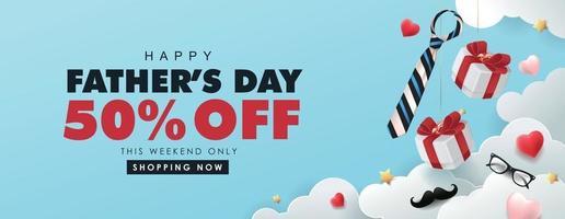 glücklicher Vatertagsverkauf Bannerhintergrund vektor