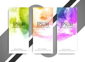 Abstrakta moderna färgstarka vattenfärg banderoller uppsättning