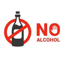 kein Alkoholsymbol Verbot von Alkohol kein Alkoholgesetz flache Vektorillustration vektor