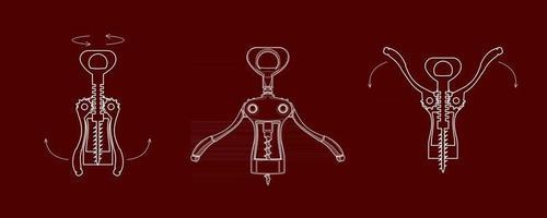 Korkenzieher öffnen eine Flasche Wein vektor