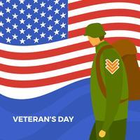 Flat Veterans Day Vector Illustration