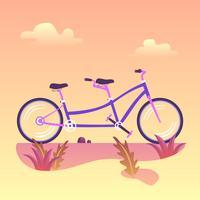 Tandem-Fahrrad-Vektor vektor