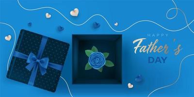 glücklicher Vatertagsbanner mit offenen Geschenkboxen und Rose innen und Herzen auf dunkelblauen und kupferfarbenen Farben vektor