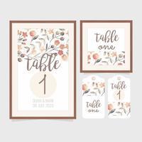 Vektor Hochzeit Tischnummer Vorlage