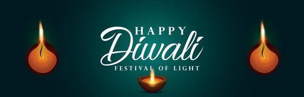 Happy Diwali das Festival der Lichtfeier Banner vektor
