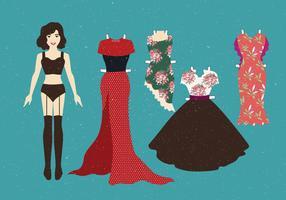 vintage papper dockor klassisk klänning vektor