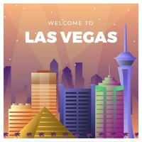 Flache Las Vegas-Skyline-Vektor-Illustration