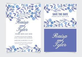 Vektor blommig bröllopsinbjudan