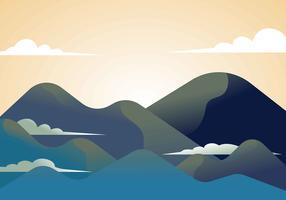 Mountain Landscape Första Person Vektor Illustration
