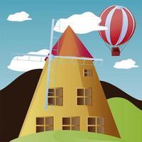 Reise-Wahrzeichen Schweiz Windmühle Heißluftballon Urlaub Tourismus vektor
