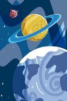 Weltraum Erde Planet Saturn und Asteroid erforschen die Galaxie vektor