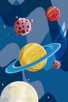 Weltraum Saturn Planeten Asteroiden und Mondkosmos vektor