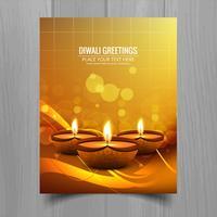 Schöne glückliche diwali diya Öllampen-Festivalschablonenbroschüre vektor