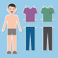 Paper Doll Man Mall Vector Illustration