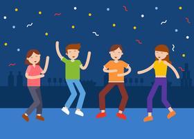 Människor Dancing At Night Party Club Illustration vektor