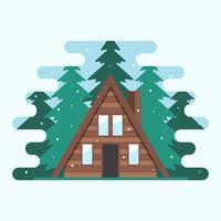 Moderne hölzerne Kabine in einer Mitte der Waldbaum-Vektor-Illustration