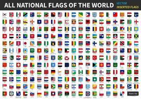 Alle offiziellen Nationalflaggen der Welt haben einen Designvektor eingefügt vektor