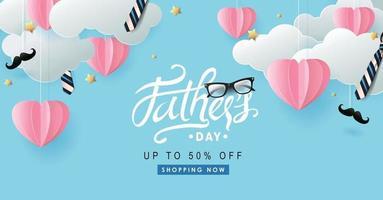 glückliche Vatertagsverkaufsbanner-Hintergrundschablone vektor