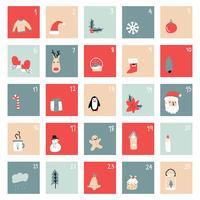 Enkel Jul Advent Kalender vektor