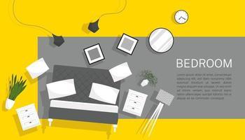 horizontaler Innenfahnenverkauf mit Schlafzimmermöbeln, die auf buntem Hintergrundvektorillustration schweben vektor