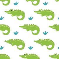 niedliches lustiges grünes Krokodil auf weißem Hintergrundvektor nahtloses Musterdekor für Kinderplakate Postkarten Kleidung und Interieur vektor