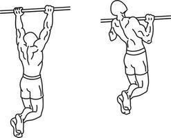 Übungen hochziehen und mit Gewichten trainieren vektor