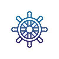 Lenkradschiff Meereslebewesen dicke Linie blau vektor