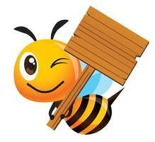Karikatur niedliche Biene mit großem Lächeln, das ein großes leeres hölzernes Schild hält vektor