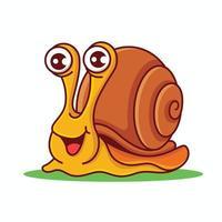 Cartoon lächelnde Schnecke mit Big Shell Charakter Maskottchen vektor