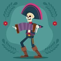 Dia de los Muertos-Festkarte mit Mariachi-Skelett, das Akkordeon spielt vektor