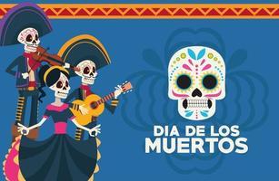 Dia de los Muertos Feierkarte mit Skelettgruppe und Schädel gemalt vektor