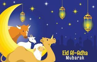Eid al Adha in der Nacht vektor