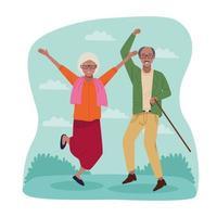 Internationaler Tag älterer Menschen mit altem Afro-Paar feiern vektor